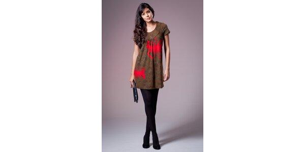 Dámske hnedé šaty Ada Gatti s červenými motýlmi