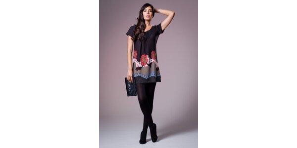 Dámske čierne šaty Ada Gatti s farebným vzorom