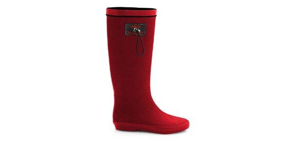Dámske matné červené rolovacie čižmy RedFoot s čiernymi detailami