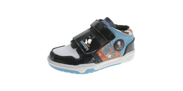 Detské čierno-modro-oranžové topánky Beppi so Snoopym