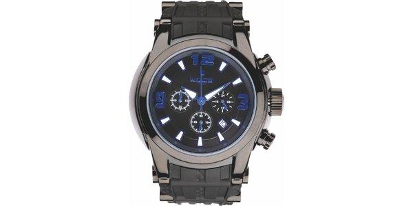 Pánske čierne hodinky s modrými detailmi a chronografom Lancaster