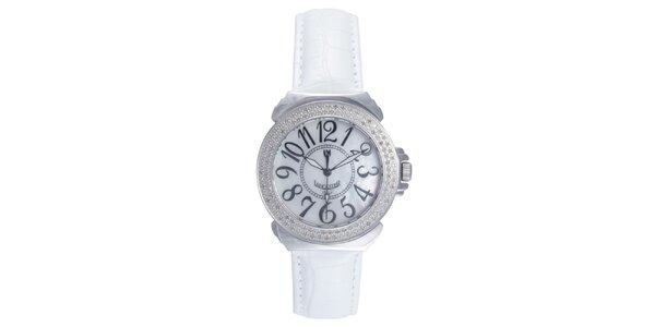 Dámske analógové hodinky s bielym remienkom a diamantmi Lancaster