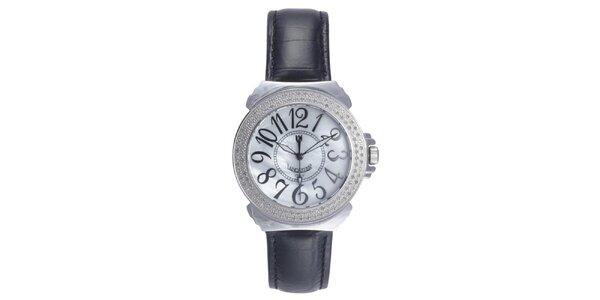 Dámske analógové hodinky s čiernym remienkom a diamantmi Lancaster