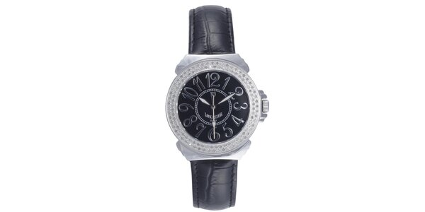 Dámske čierne analógové hodinky s diamantmi Lancaster