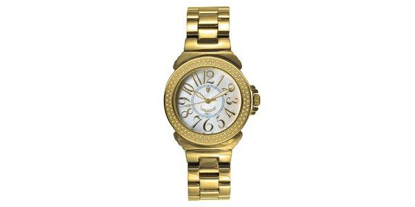 Dámske analógové hodinky s diamanty a svetlým ciferníkom Lancaster