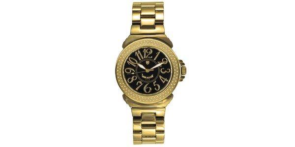 Dámske analógové hodinky s diamantmi a tmavým ciferníkom Lancaster