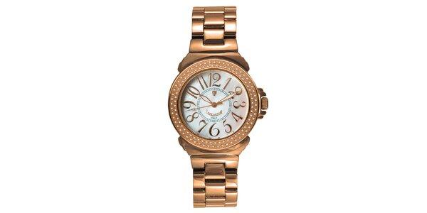Dámske oceľové hodinky s diamantmi vo farbe ružového zlata Lancaster