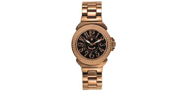 Dámske oceľové hodinky s diamantmi a tmavým ciferníkom vo farbe ružového zlata…