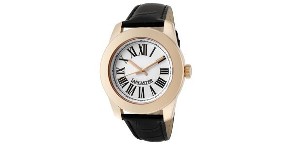 Dámske hodinky s púzdrom vo farbe ružového zlata, s čiernym remienkom…