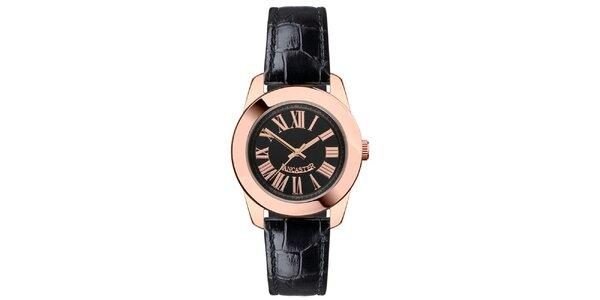 Dámske hodinky s púzdrom vo farbe ružového zlata, s čiernym remienkom aj…