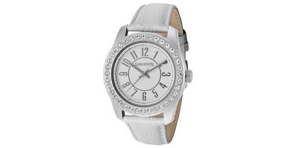 Dámske hodinky s kamienkami a bielym remienkom Lancaster