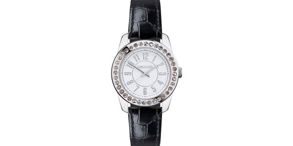 Dámske hodinky s kamienkami a čiernym remienkom Lancaster