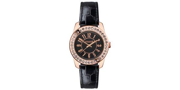 Dámske hodinky s kamienkami, čiernym remienkom a s púzdrom vo farbe ružového…