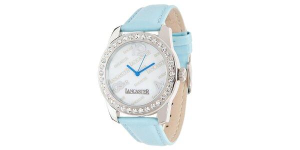 Dámske hodinky so svetlo modrým remienkom a kamienkami Lancaster
