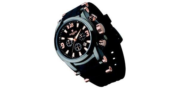 Pánske čierne hodinky s chronografom Lancaster