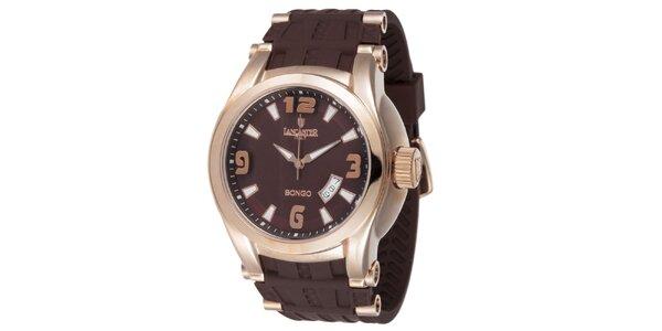 Pánske pozlátené hodinky Lancaster s hnedým remienkom