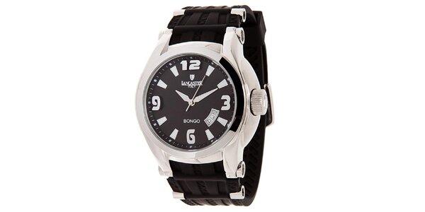 Pánske strieborné hodinky s čiernym ciferníkom Lancaster