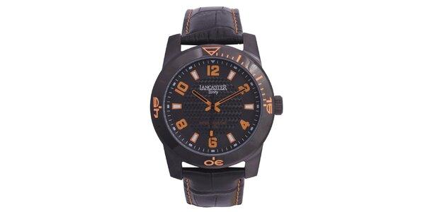 Pánske čierne hodinky s oranžovými detailmi Lancaster