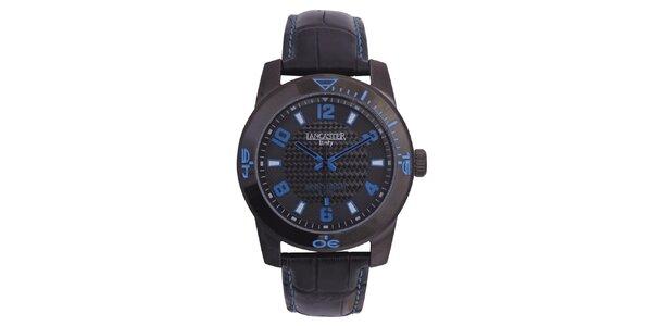 Pánske čierne hodinky s modrými detailmi Lancaster