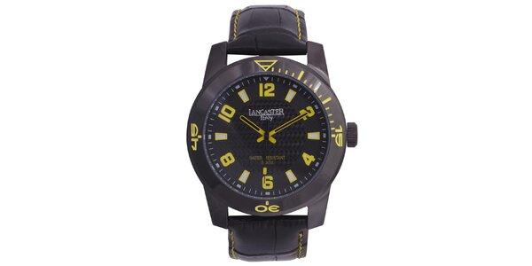 Pánske čierne hodinky so žltými detailmi Lancaster