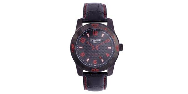 Pánske čierne hodinky s červenými detailmi Lancaster