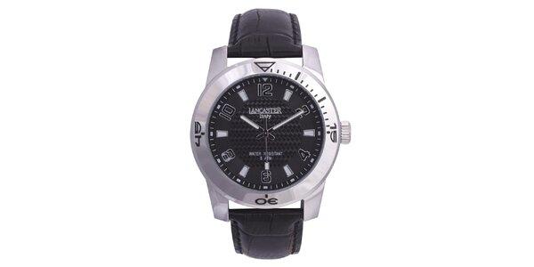 Pánske strieborné hodinky s čiernym koženým remienkom Lancaster