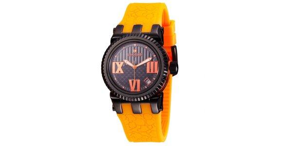 Dámske čierne hodinky Lancaster s oranžovými detailmi