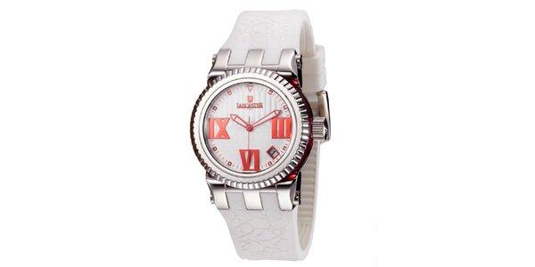 Dámske strieborné hodinky s červenými detailmi Lancaster