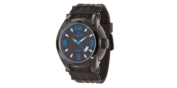 Pánske čierne analogové hodinky s modrými detailmi Lancaster
