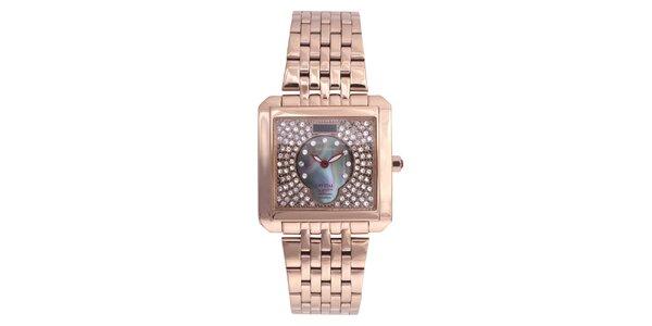 Dámske ružovo pozlátené hodinky Lancaster s kryštálmi