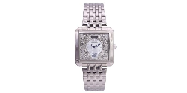 Dámske strieborné hodinky Lancaster s kryštálmi a modrými ručičkami
