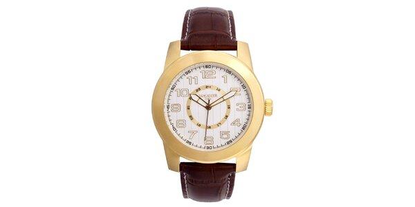 Pánske pozlátené hodinky Lancaster s bielym ciferníkom