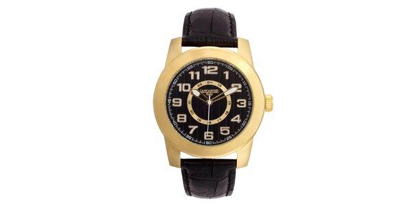 Pánske pozlátené hodinky Lancaster s čiernym ciferníkom
