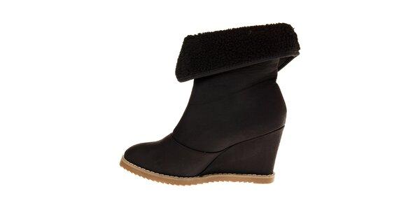 Dámske čierne topánky Buffalo na vysokom podpätku