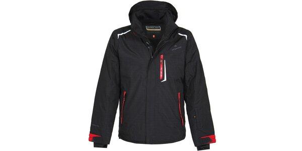 Pánska čierna lyžiarska bunda s červenými detailmi Bergson