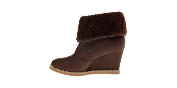 Dámske čokoládovo hnedé topánky Buffalo na vysokom podpätku