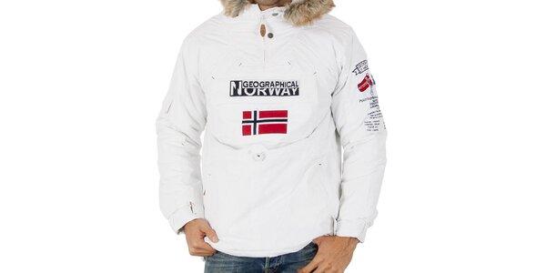 Pánska biela bunda s nášivkami Geographical Norway
