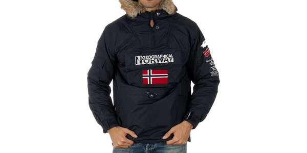 Pánska modrá bunda s nášivkami Geographical Norway