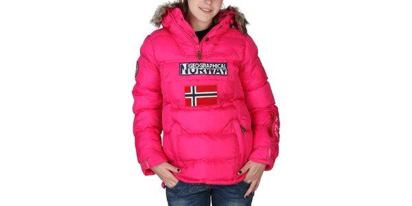 Dámska ružová bunda s kapucňou a kožúškom Geographical Norway