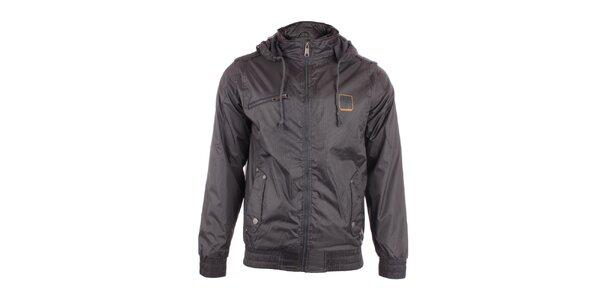 Pánska čierna bunda Exe Jeans s jemným vzorom