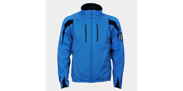 Pánska svetlo modrá softshellová bunda Sweep s čiernymi detailmi
