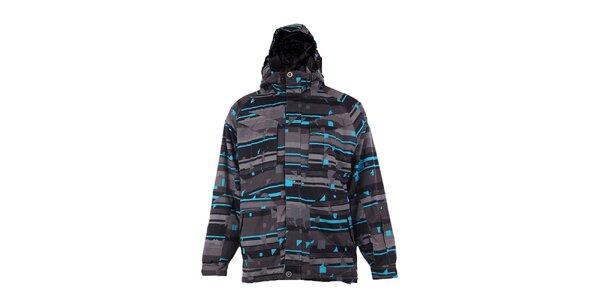 Pánska šedo-tyrkysová funkčná zimná bunda Fundango s membránou
