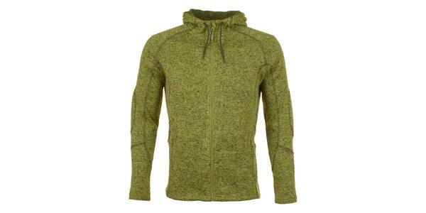 Pánska zeleno melírovaná fleecová bunda E2KO