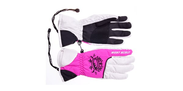 Dámske ružovo-biele lyžiarske rukavice West Scout s membránou