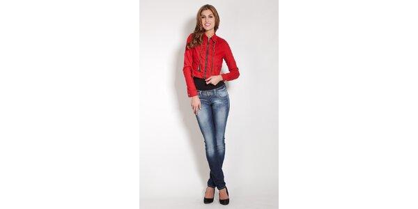 Dámska červená džínsová bundička Lois