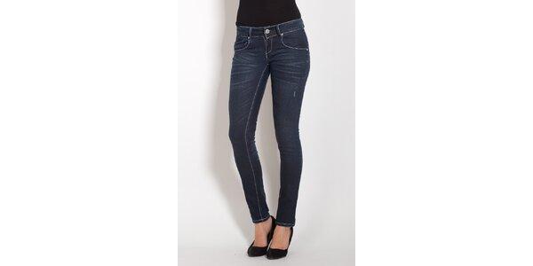 Dámske tmavo modré skinny džínsy Lois s kamienkami