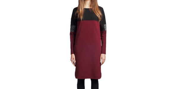 Dámske vínové šaty s čiernymi prvkami Lanti