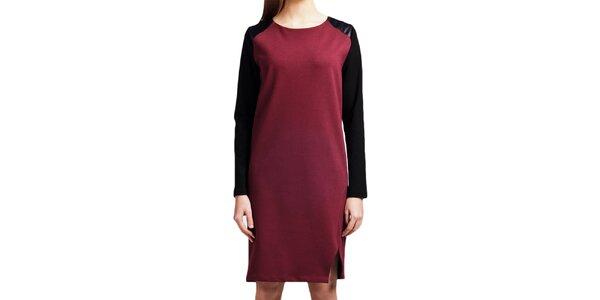 Dámske vínové šaty s čiernymi rukávmi Lanti