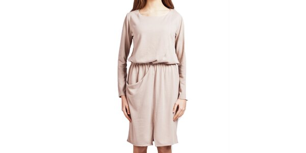 Dámske béžové šaty s dlhým rukávom Lanti