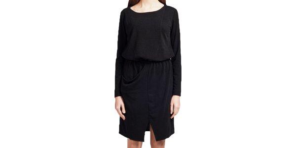 Dámske čierne šaty s dlhým rukávom Lanti